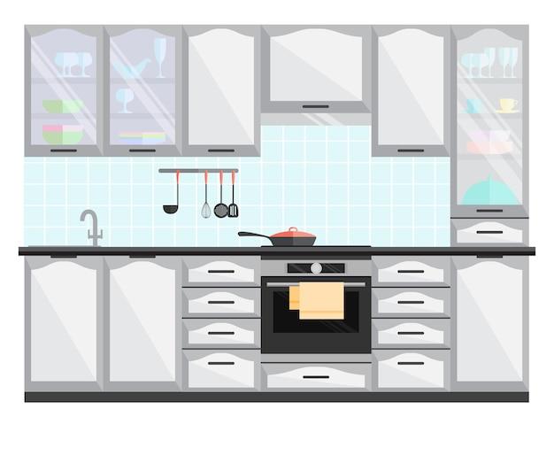 Interior da cozinha com móveis e equipamentos. Vetor Premium