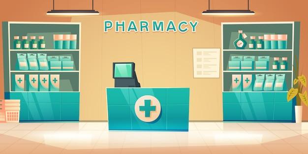 Interior da farmácia com balcão e medicamento nas prateleiras Vetor grátis