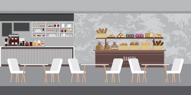 Interior da loja de padaria moderna, loja de café com balcão de exposição. Vetor Premium