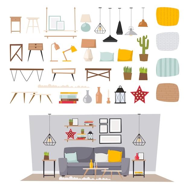 Interior da mobília e ilustração lisa ajustada do ícone home do conceito da decoração. Vetor Premium