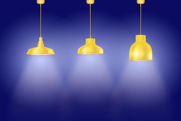 Interior da parede azul com lâmpadas pedantes vintage amarelas. conjunto de lâmpadas de estilo retro. Vetor Premium