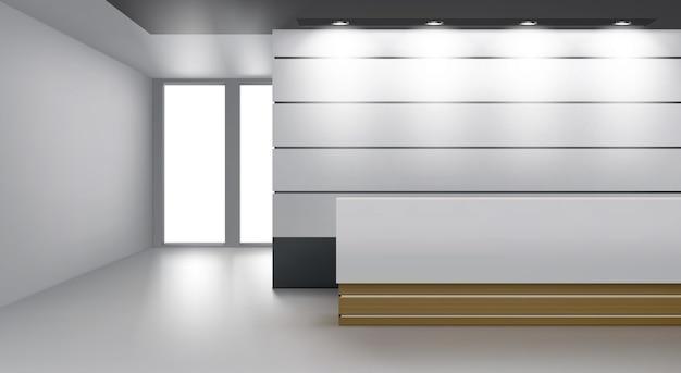 Interior da recepção com mesa moderna, iluminação da lâmpada no teto e porta de vidro Vetor grátis