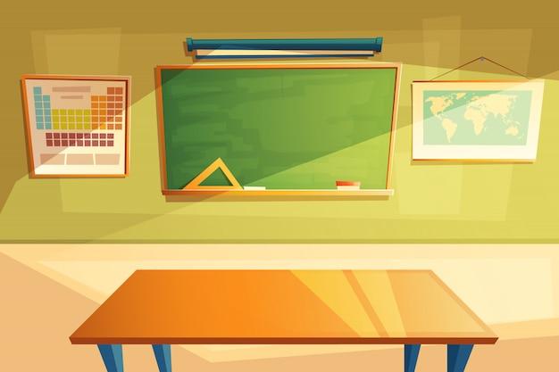 Interior da sala de aula da escola. universidade, conceito educacional, quadro-negro e mesa. Vetor grátis