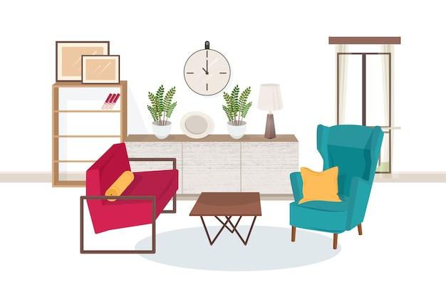 Interior da sala de estar cheia de móveis modernos - poltronas confortáveis, mesa de centro, estantes com livros, plantas de interior, abajur, quadros de parede Vetor Premium