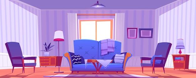 Interior da sala de estar com decoração e móveis antigos. Vetor grátis