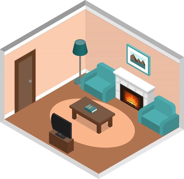 Interior da sala de estar com lareira em estilo isométrico, Vetor Premium