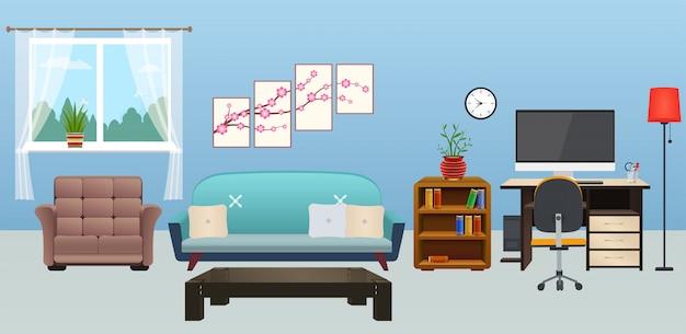 Interior da sala de estar com mobília Vetor Premium