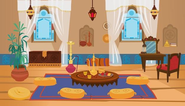 Interior da sala de estar do oriente médio com móveis de madeira e elementos de decoração. Vetor Premium