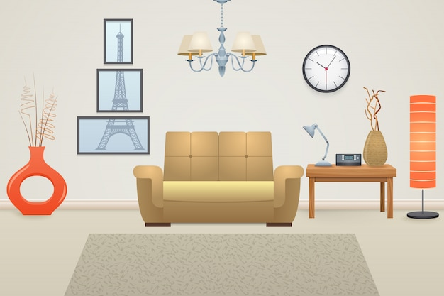 Interior da sala de estar Vetor grátis