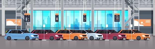 Interior da sala de exposições do centro do negócio dos carros com exposição da ilustração horizontal nova dos veículos modernos Vetor Premium