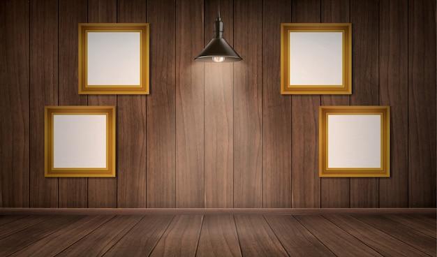 Interior da sala de madeira com quadros e lâmpada Vetor grátis