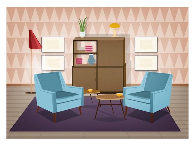 Interior da sala decorada em estilo retro. móveis antiquados e decorações para casa - poltronas, carpete, mesa de centro, aparador, luminária de chão, quadros de parede. ilustração do vetor dos desenhos animados. Vetor Premium