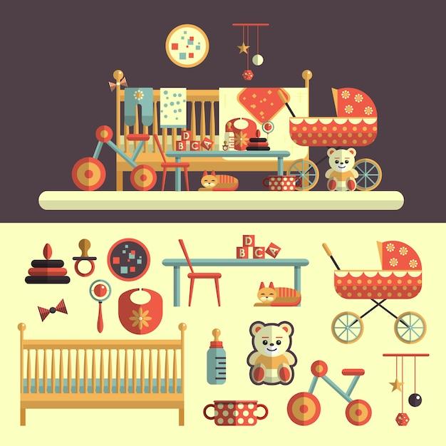 Interior da sala do bebê e conjunto de brinquedos para crianças. ilustração vetorial no design de estilo simples. elementos isolados Vetor Premium