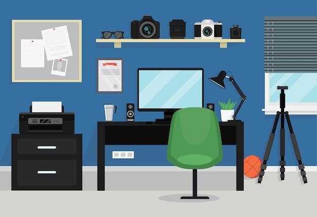 Interior da sala moderna de adolescente. espaço de trabalho para o fotógrafo Vetor Premium