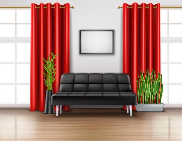 Interior da sala realista com cortinas vermelhas de luxo em janelas francesas de couro preto sofá luz chão Vetor grátis