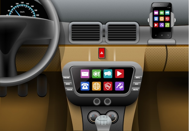 Interior de auto realista com sistema multimídia carro e smartphone Vetor grátis