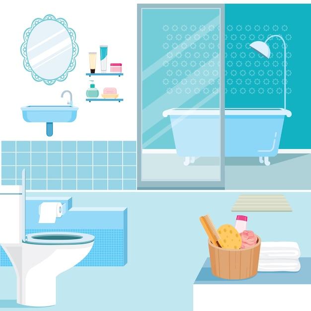 Interior de banheiro e móveis internos Vetor Premium