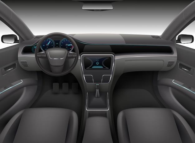 Interior de carro realista com leme, painel frontal do painel e ilustração vetorial de pára-brisa de auto Vetor Premium