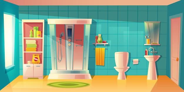 Interior de casa de banho com cabine de duche automática, lavatório. Vetor grátis