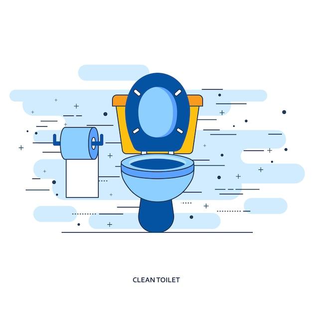 Interior de casa de banho com sanita e papel higiênico Vetor Premium