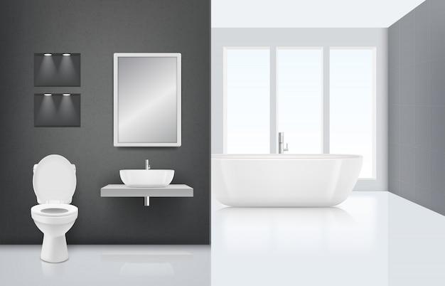 Interior de casa de banho moderna. cabine de lavagem da pia do vaso sanitário no interior elegante do banho fresco e branco de luxo. realista limpo Vetor Premium
