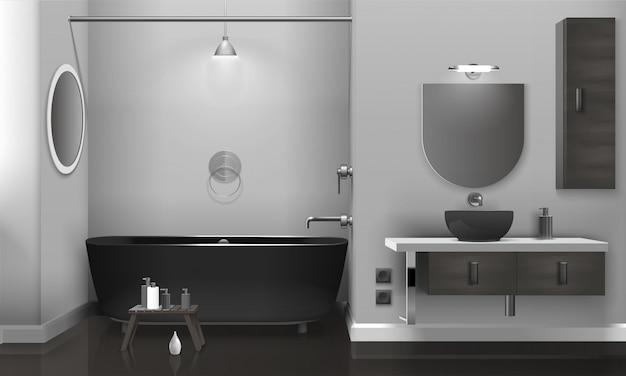 Interior de casa de banho realista com dois espelhos Vetor grátis