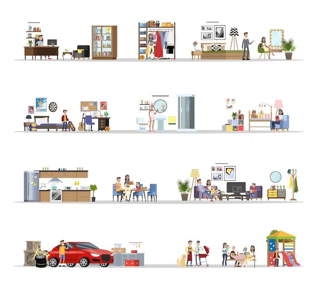 Interior de construção de casa com conjunto de garagem. casa com cozinha e banheiro, quarto e sala. churrasco no quintal. ilustração em vetor plana Vetor Premium