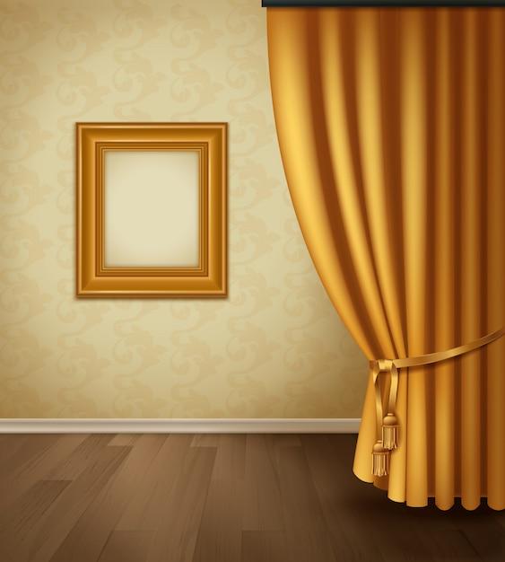 Interior de cortina clássica com plinto de piso de madeira de parede de armação Vetor grátis