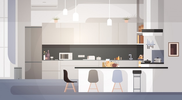 Interior de cozinha moderna vazio nenhum quarto de casa de pessoas Vetor Premium