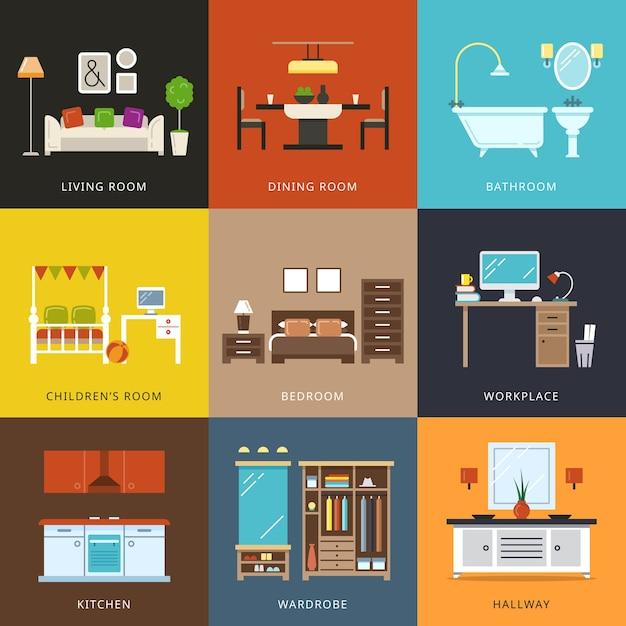 Interior de diferentes tipos de quartos. móveis para casa, corredor e guarda-roupa, local de trabalho e sala, casa de conforto. ilustração vetorial em estilo simples Vetor grátis