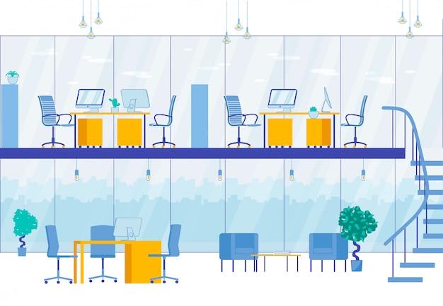Interior de escritório de dois níveis moderno centro de negócios Vetor Premium