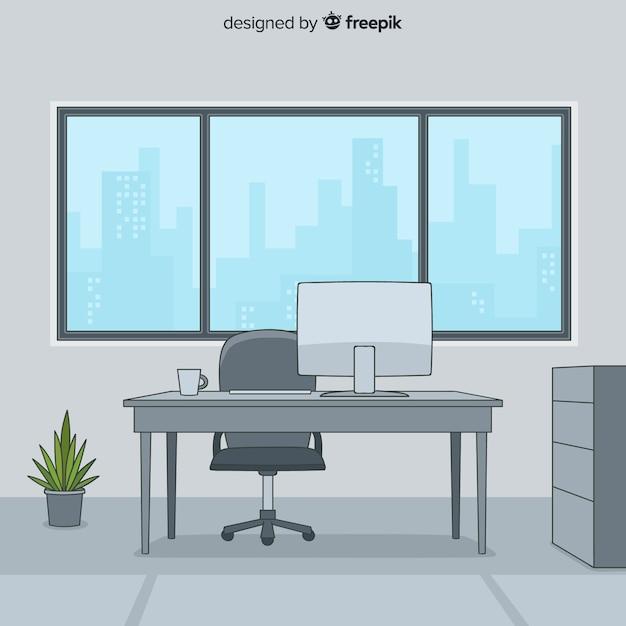 Interior de escritório profissional de mão desenhada Vetor grátis