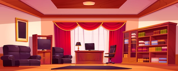 Interior de escritório vazio de luxo com móveis de madeira Vetor grátis