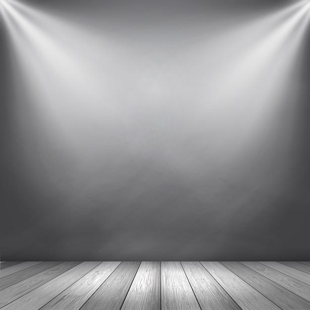 Interior de fundo cinza com holofotes brilhando para exibir produtos Vetor Premium