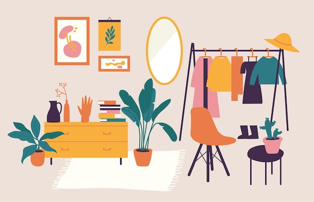 Interior de ilustração vetorial com móveis elegantes e confortáveis e decoração para casa. Vetor Premium