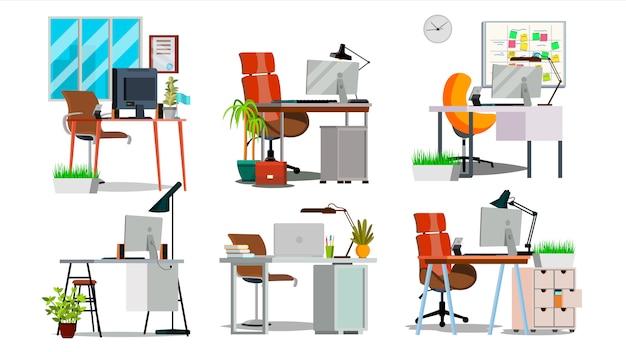 Interior de local de trabalho de escritório Vetor Premium