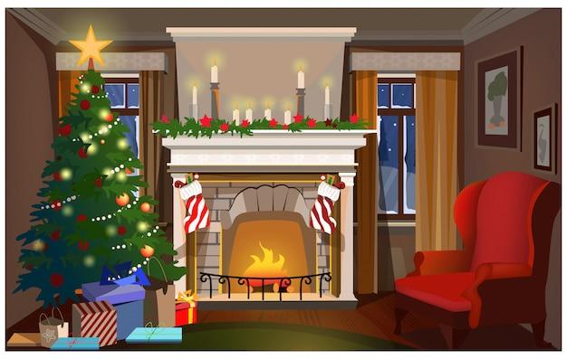 Interior de natal com abeto decorado, lareira e poltrona Vetor Premium