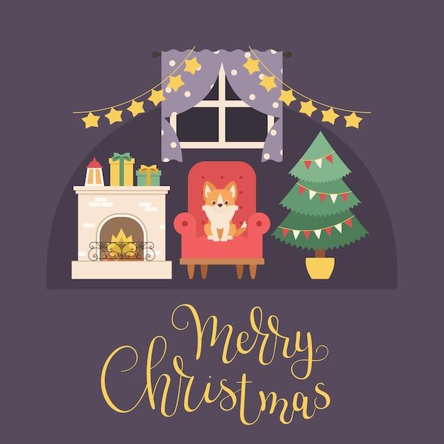 Interior de natal com lareira, árvore de natal, presentes e decorações Vetor Premium