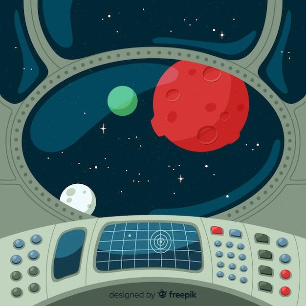 Interior, de, nave espacial, fundo Vetor grátis