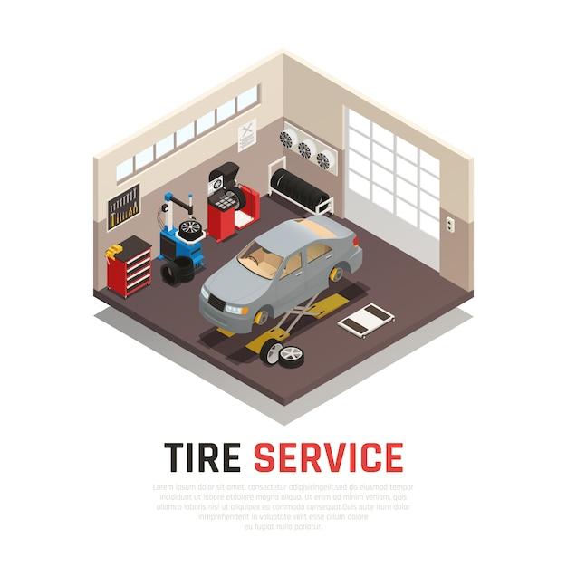 Interior de oficina de serviço de pneus com macacos de automóvel equipamento de montagem e balanceamento de pneus de carro Vetor grátis