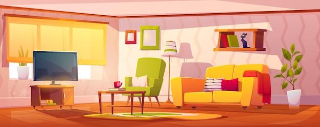 Interior de primavera da sala de estar Vetor grátis