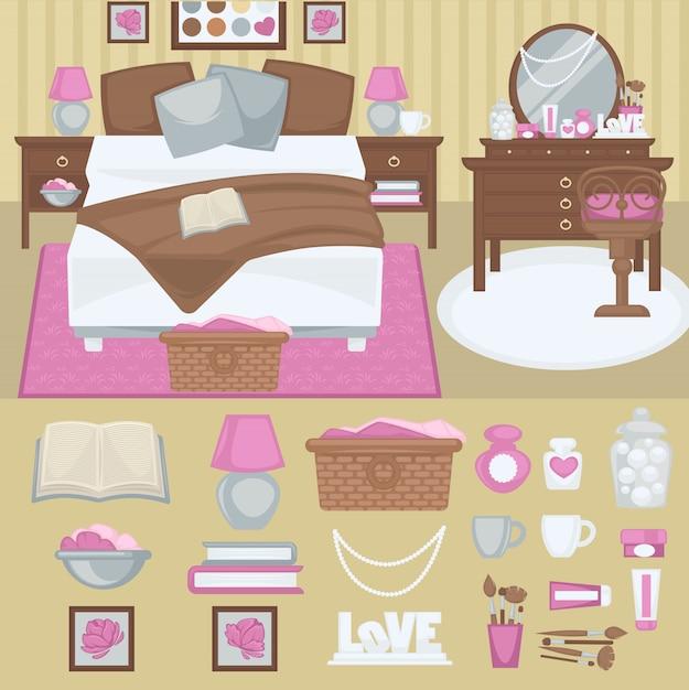 Interior de quarto de mulher de vetor. Vetor Premium
