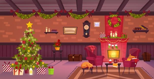 Interior de quarto decorado de natal com chaminé Vetor Premium