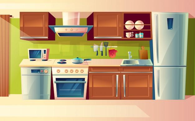 Interior de sala de cozinha dos desenhos animados, balcão de cozinha com aparelhos Vetor grátis