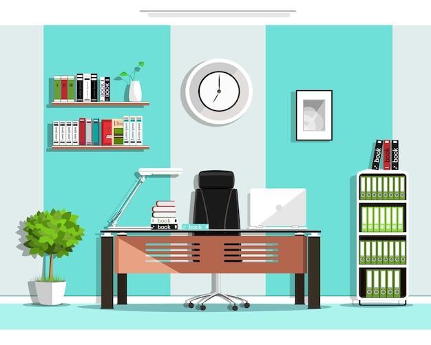 Interior de sala de escritório gráfico legal com móveis: cadeira, mesa, estante de livros, prateleiras, lâmpada. ilustração Vetor Premium