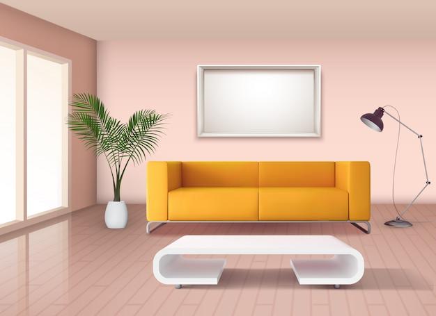 Interior de sala de estar de estilo minimalista moderno com sofá amarelo milho e ilustração branca mesa de café chique Vetor grátis