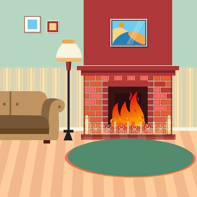 Interior de sala de estar de luxo com lareira e sofá Vetor Premium