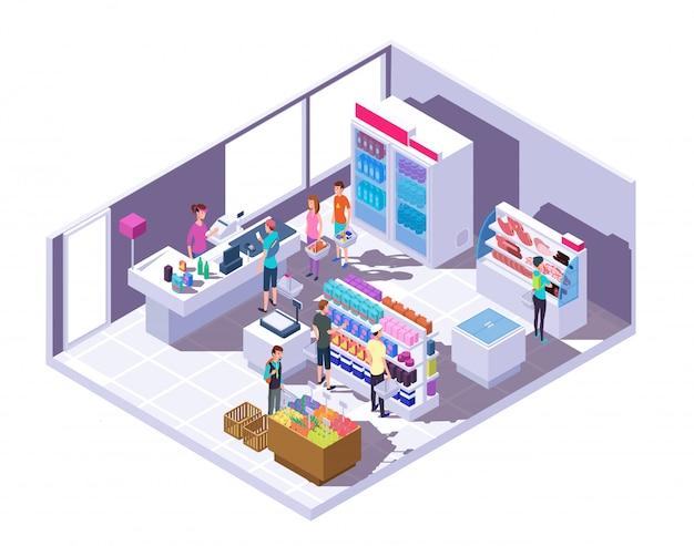 Interior de supermercado com pessoas de compras e comida nas prateleiras e geladeira Vetor Premium