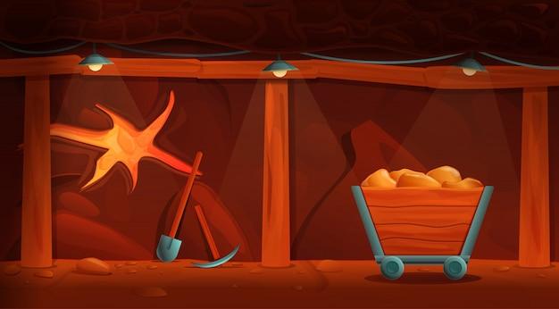 Interior de uma antiga mina dos desenhos animados com ferramentas de ouro e mineração, ilustração vetorial Vetor Premium