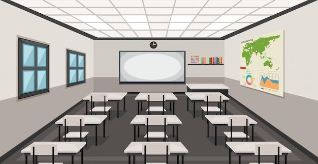Interior de uma sala de aula Vetor grátis